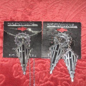 NEW HARLEY DAVIDSON EARRINGS AND NECKLACE SET